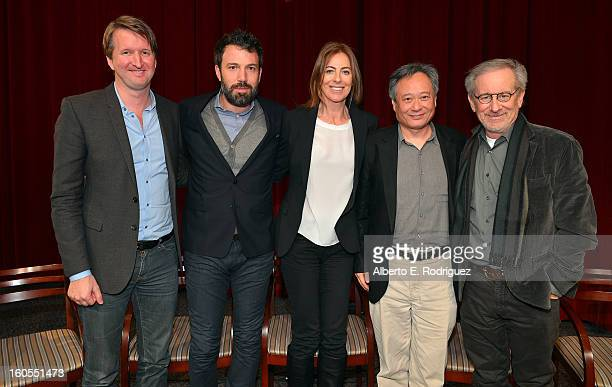 Directors Tom Hooper Ben Affleck Kathryn Bigelow Ang Lee and Steven Spielberg pose onstage at the 65th Annual Directors Guild of America Awards...
