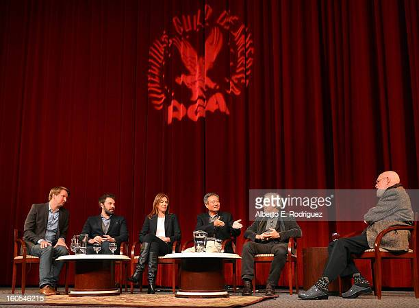 Directors Tom Hooper Ben Affleck Kathryn Bigelow Ang Lee Steven Spielberg and panel moderator Director Jeremy Kagan speak onstage at the 65th Annual...