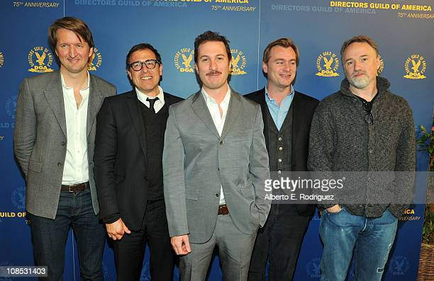 Directors Tom Hooper David O Russell Darren Aronofsky Christopher Nolan and David Fincher attend the 63rd Annual Directors Guild of America Awards...