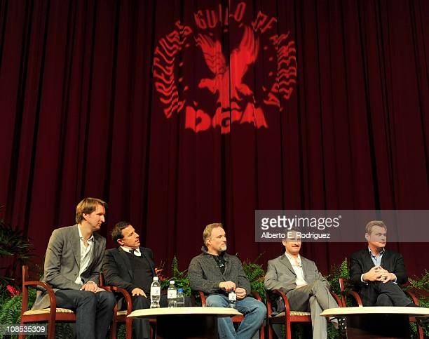 Directors Tom Hooper David O Russell David Fincher Darren Aronofsky and Christopher Nolan speak onstage at the 63rd Annual Directors Guild Of America...