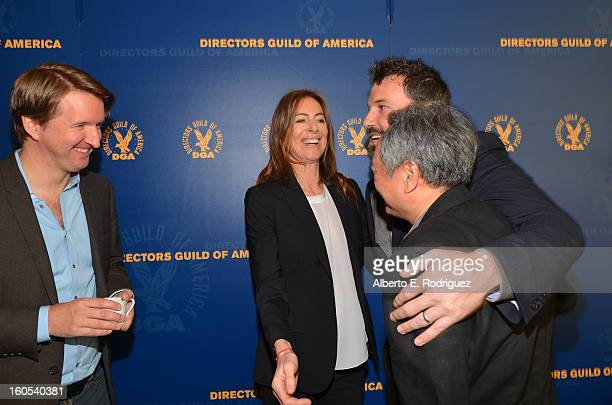 Directors Tom Hooper Kathryn Bigelow Ben Affleck and Ang Lee attend the 65th Annual Directors Guild of America Awards President's Breakfast held at...