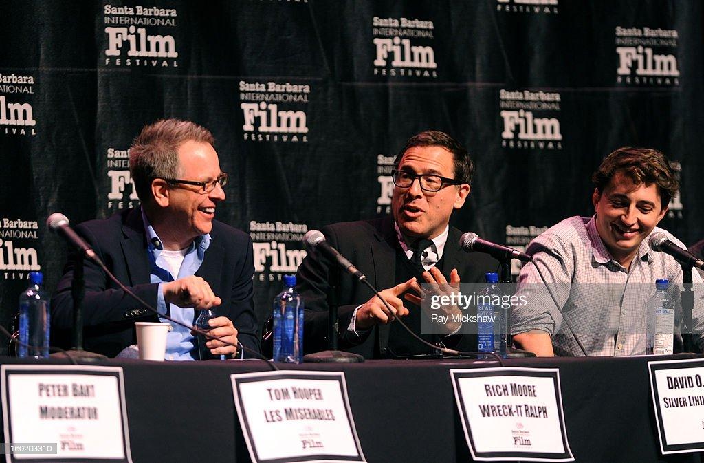Directors Tom Hooper, Rich Moore and David O. Russell attend the 28th Santa Barbara International Film Festival Directors Panel on January 26, 2013 in Santa Barbara, California.