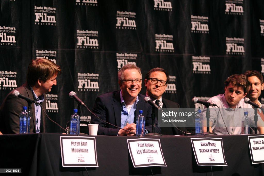 Directors Tom Hooper, Rich Moore, David O. Russell, Behn Zeitlin and Malik Bendjelloul attend the 28th Santa Barbara International Film Festival Directors Panel on January 26, 2013 in Santa Barbara, California.