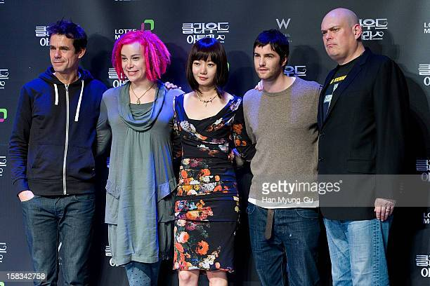 Directors Tom Tykwer Lana Wachowski actors Bae DooNa Jim Sturgess and Andy Wachowski attend during the 'Cloud Atlas' press conference at Sheraton...