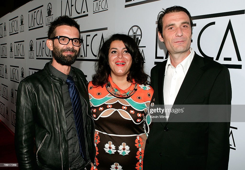 Directors Vincent Paronnaud, Marjane Satrapi and editor Stephane Roche arrive at the 2007 LA Film Critic's Choice Awards held at the InterContinental on January 12, 2008 in Los Angeles, California.