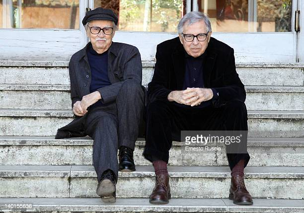 Directors Vittorio Taviani and Paolo Taviani attend the 'Cesare Deve Morire' photocall at Nuovo Sacher on February 29 2012 in Rome Italy
