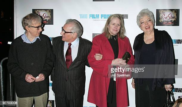 Directors Woody Allen and Martin Scorsese Helen Morris and film editor Thelma Schoonmaker attend a screening of The Red Shoes at the Directors Guild...