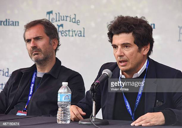 Directors Xavier Giannoli and Nicolas Saada speak during a seminar in Elks Park at the 2015 Telluride Film Festival on September 6 2015 in Telluride...