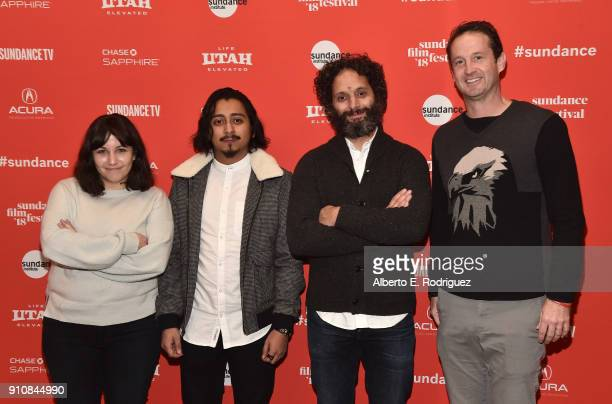 Director/screenwriter Hannah Fidell actors Tony Revolori Jason Mantzoukas and Sundance Film Festival Director Trevor Groth attend the premiere of The...