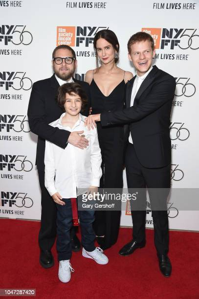 Director/screenwriter Jonah Hill actors Sunny Suljic Katherine Waterston and Lucas Hedges attend the New York premiere of 'Mid90s' during the 56th...