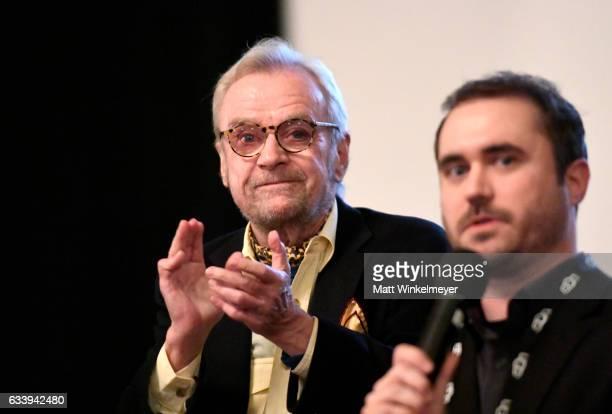 Director/subject John G Avildsen and director Derek Wayne Johnson speak onstage at a screening of 'John G Avildsen King of the Underdogs' during the...