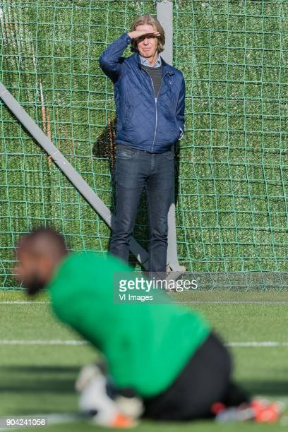 directort Jan de Jong of Feyenoord keeper Kenneth Vermeer of Feyenoord during a training session of Feyenoord Rotterdam at the Marbella Football...