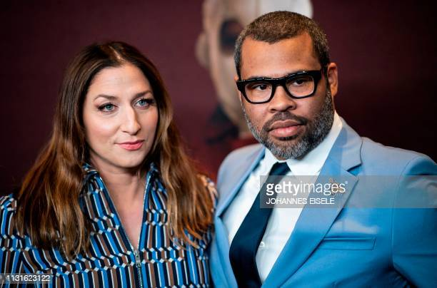 Director/writer and his wife actress Chelsea Peretti arrive for the New York premiere of 'US' at the Museum of Modern Art on March 19 2019 in New...