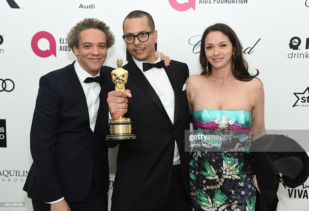Director/writer Andrew Wallace, producer/writer James Lucas, Oscar winners of the Best Live Action Short Film Award for 'The Phone Call', and guest attend the 23rd Annual Elton John AIDS Foundation Academy Awards Viewing Party on February 22, 2015 in Los Angeles, California.