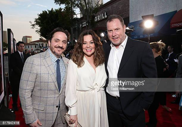 """Director/writer Ben Falcone, actress/writer/producer Melissa McCarthy and producer Chris Henchy attend the premiere of USA Pictures' """"The Boss"""" at..."""