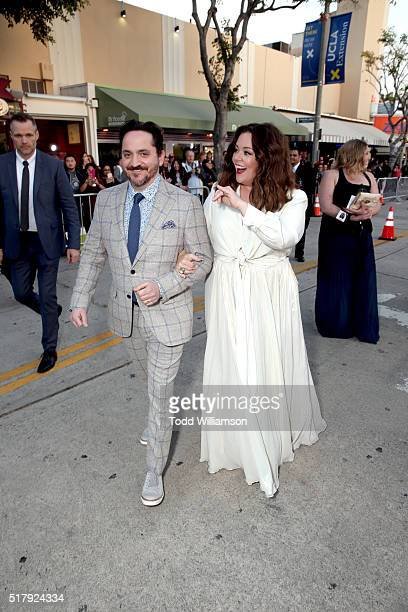 Director/writer Ben Falcone and actress/writer/producer Melissa McCarthy attend the premiere of USA Pictures' The Boss at Regency Village Theatre on...