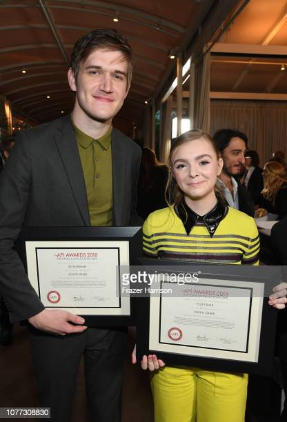 Directorwriter Bo Burnham and actor Elsie Fisher pose with awards during 19th Annual AFI Awards at Four Seasons Hotel Los Angeles at Beverly Hills on...