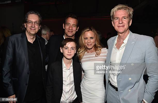 Director/writer Bob Nelson actors Clive Owen Jaeden Lieberher Maria Bello and Matthew Mocine attend the after party for the premiere of Saban Films'...