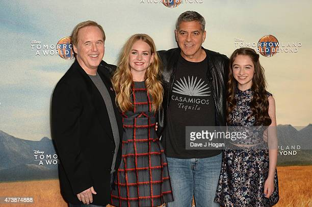 Director/Writer Brad Bird Britt Robertson George Clooney and Raffey Cassidy pose during the Tomorrowland A World Beyond Photocall at Claridges Hotel...
