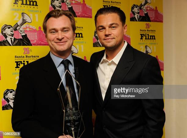 Director/Writer Christopher Nolan and Actor Leonardo DiCaprio backstage at the Modern Master Award Tribute to Christopher Nolan at the Arlington...