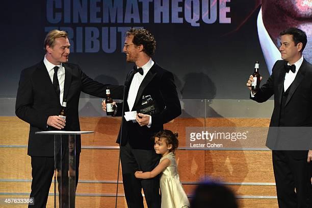 Director/writer Christopher Nolan honoree Matthew McConaughey Vida Alves McConaughey and host Jimmy Kimmel attend the 28th American Cinematheque...