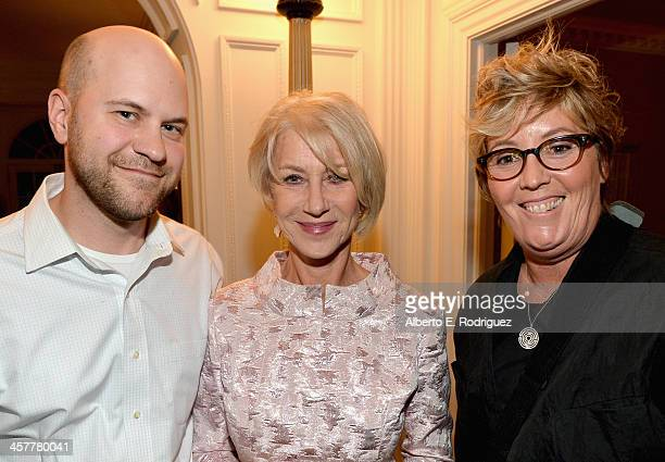 Director/writer Dan Scanlon actress Helen Mirren and producer Kori Rae attend a special 'Monsters University' reception hosted by Helen Mirren at the...