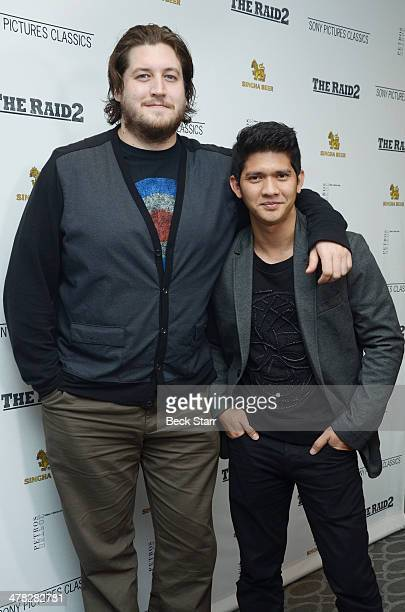 Director/writer Gareth Evans and actor/martial artist Iko Uwais arrive at Sony Pictures Classic The Raid 2 Los Angeles premiere at Harmony Gold...