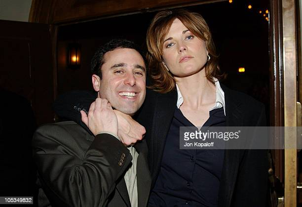 Director/Writer Jeff Schaffer and Lucy Lawless during Eurotrip Los Angeles Premiere After Party at Roosevelt Hotel in Hollywood California United...