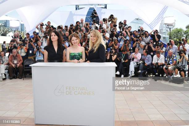 Director/writer Julia Leigh Actress Emily Browning and Rachael Blakeattend the 'Sleeping Beauty' photocall during the 64th Annual Cannes Film...
