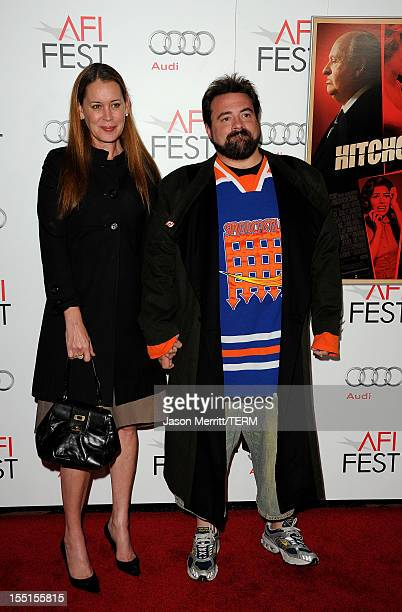 Director/writer Kevin Smith and Jennifer Schwalbach Smith arrive at the premiere of Hitchcock during AFI Fest 2012 presented by Audi at Grauman's...