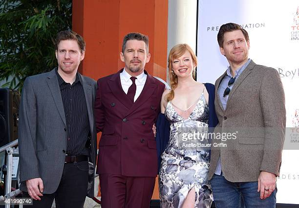 Director/writer Michael Spierig actors Ethan Hawke Sarah Snook and director/writer Peter Spierig attend Ethan Hawke's hand and footprint ceremony at...