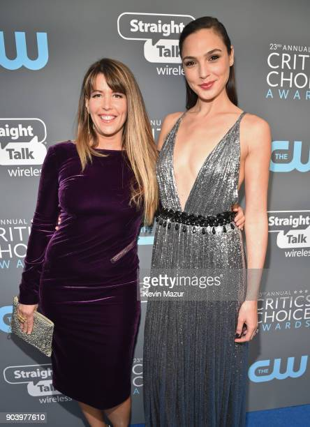 Directorwriter Patty Jenkins and honoree Gal Gadot attend The 23rd Annual Critics' Choice Awards at Barker Hangar on January 11 2018 in Santa Monica...