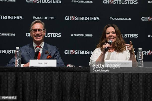 "Director/writer Paul Feig and actress Melissa McCarthy speak during the ""Ghostbusters"" press conference held at the ArtScience Museum at Marina Bay..."