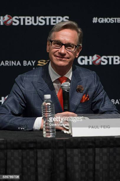 """Director/writer Paul Feig speaks during the """"Ghostbusters"""" press conference held at the ArtScience Museum at Marina Bay Sands on June 13, 2016 in..."""