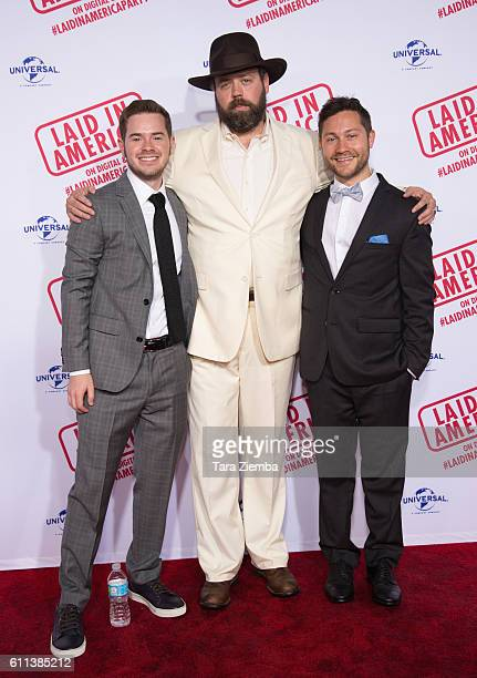Director/writer Peter Vass actor Daved Wilkins and director/writer Sam Milman attend the premiere of 'Laid In America' at AMC Universal City Walk on...