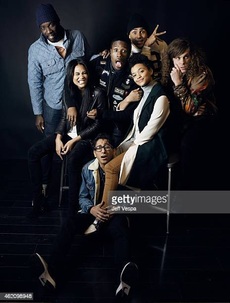 Director/writer Rick Famuyiwa actors Chanel Iman Shameik Moore Tony Revolori Kiersey Clemons Quincy Brown and Blake Anderson from Dope pose for a...