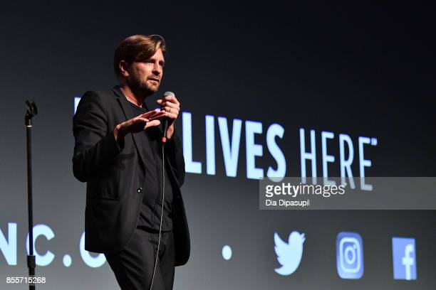 Director/writer Ruben Ostlund speaks at the intro for the premiere of 'The Square' during the 55th New York Film Festival at Alice Tully Hall Lincoln...