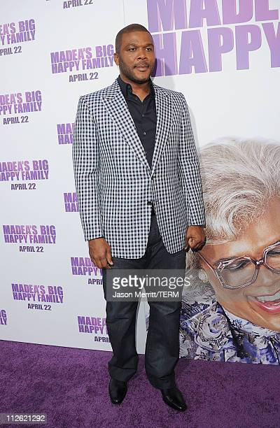 Director/Writer Tyler Perry arrives at the Lionsgate premiere of Madea's Big Happy Family at ArcLight Cinemas Cinerama Dome on April 19 2011 in...