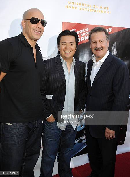 Director/writer Vin Diesel director of 'Fast Furious' Justin Lin and President of Universal Studios Home Entertainment Craig Kornblau attend...