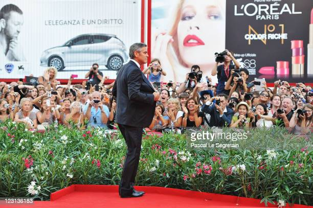 director/writer/actor George Clooney attends The Ides Of March premiere during the 68th Venice Film Festival at the Palazzo del Cinema on August 31...
