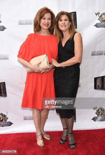 Director/writer/actress Judy Norton and actress Lee Purcell attend the premiere of Inclusion Criteria at Charlie Chaplin Theatre on April 7 2018 in...
