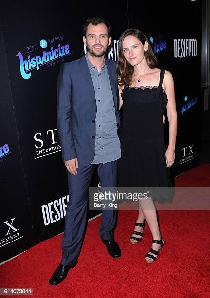Director/writer/editor Jonas Cuaron and wife actress Eireann Harper attend screening of STX Entertainment's 'Desierto' at Regal LA Live Stadium 14 on...