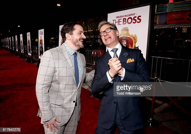 """Director/writer/executive producer Ben Falcone and director Paul Feig attend the premiere of USA Pictures' """"The Boss"""" at Regency Village Theatre on..."""