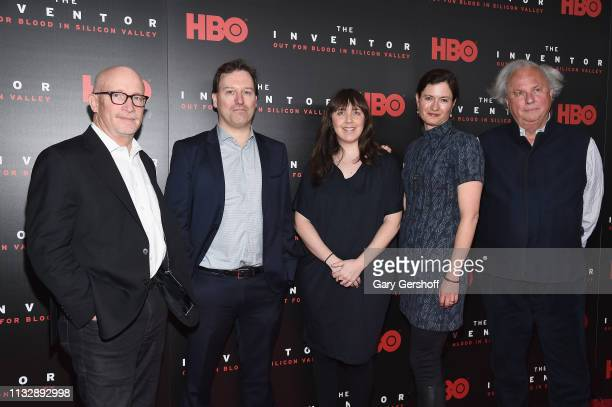 Director/writer/producer Alex Gibney film subject John Carreyrou producers Erin Edeiken Jessie Deeter and executive producer Graydon Carter attend...