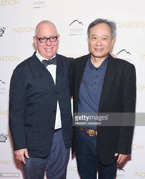 Director/Writer/Producer James Schamus and Ang Lee attend the Indignation New York premiere at the Museum of Modern Art on July 25 2016 in New York...