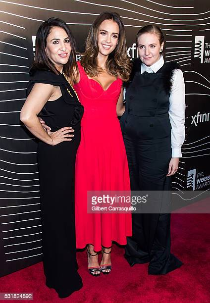 Director/writer/producer Jenni Konner actress Jessica Alba and actress Lena Dunham attend The 20th Annual Webby Awards at Cipriani Wall Street on May...