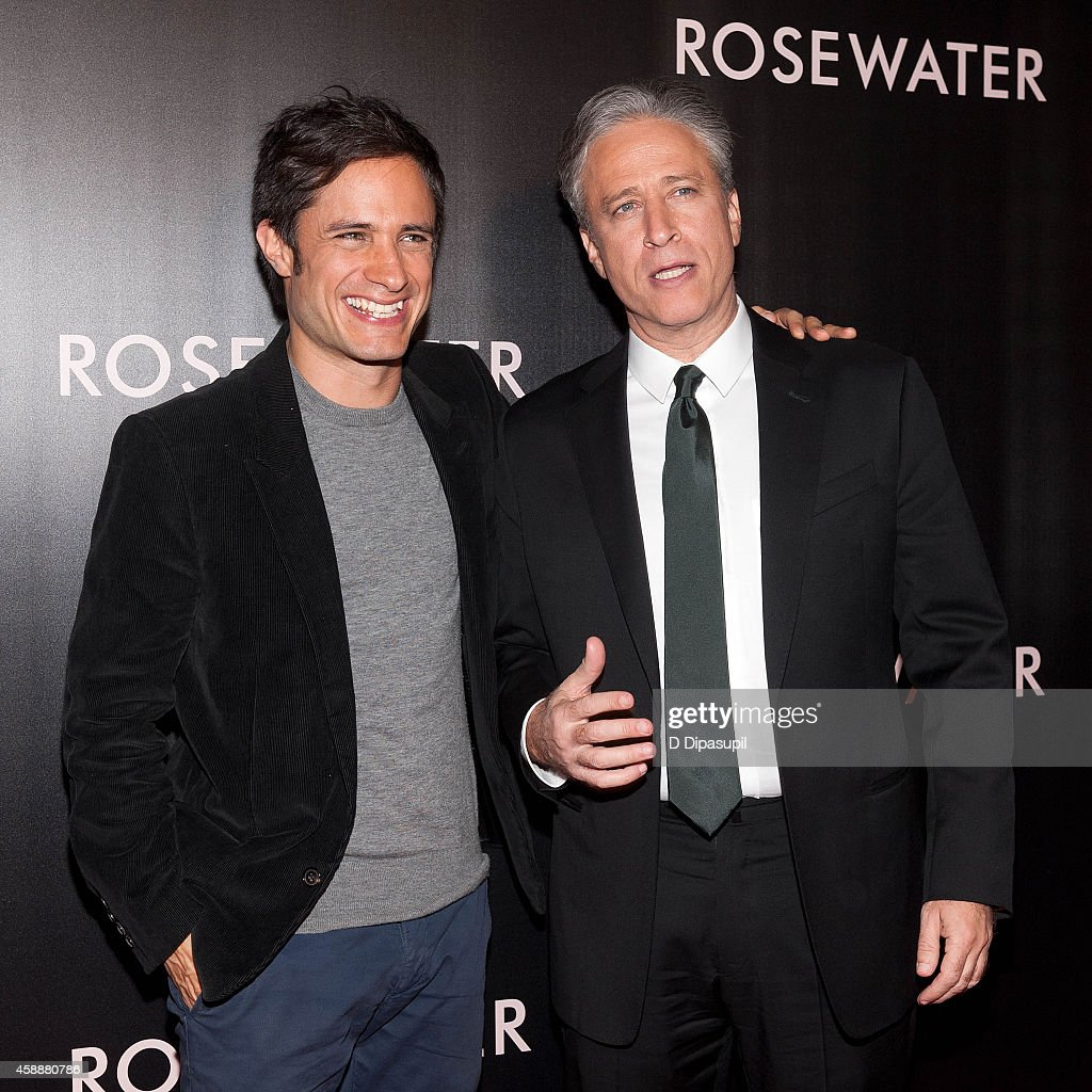 Director/writer/producer Jon Stewart (R) and actor Gael Garcia Bernal attend the 'Rosewater' New York Premiere at AMC Lincoln Square Theater on November 12, 2014 in New York City.