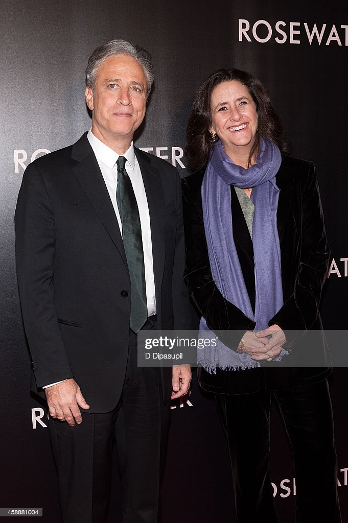 Director/writer/producer Jon Stewart (L) and producer Gigi Pritzker attend the 'Rosewater' New York Premiere at AMC Lincoln Square Theater on November 12, 2014 in New York City.
