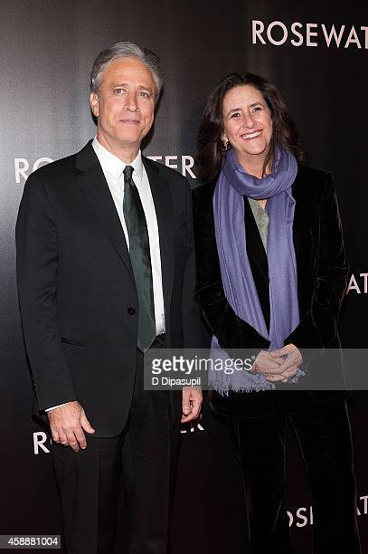 Director/writer/producer Jon Stewart and producer Gigi Pritzker attend the 'Rosewater' New York Premiere at AMC Lincoln Square Theater on November 12...