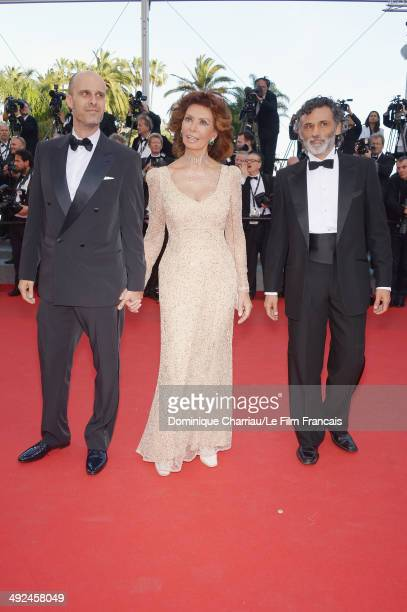 Directro Edoardo Ponti and Sophia Loren attend Voce Umana Premiere during the 67th Annual Cannes Film Festival on May 20 2014 in Cannes France